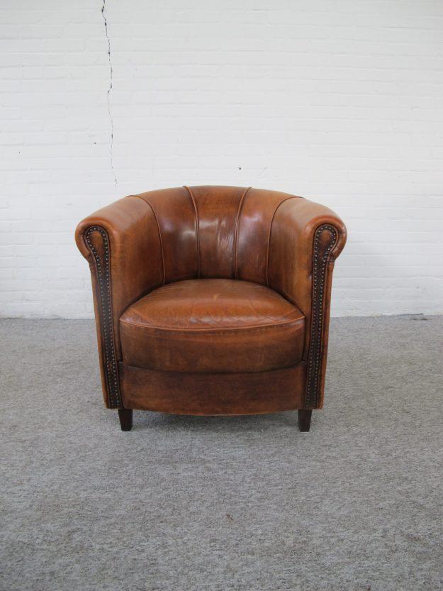 Fauteuil Joris schapenlederen sheep leather armchair vintage midcentury