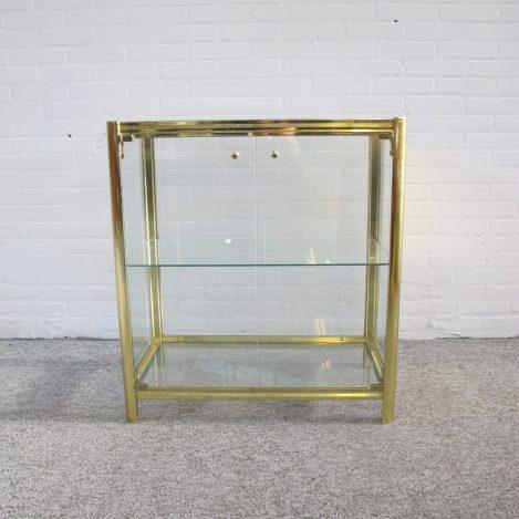 kast vitrinekast Cabinet Renato Zevi brass messing displaycabinet vintage midcentury