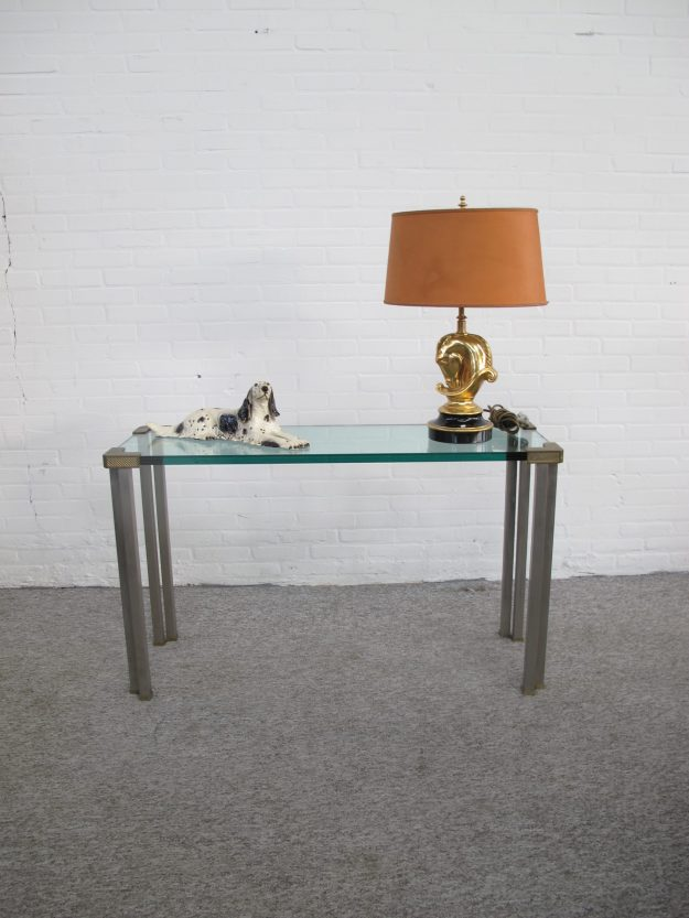 Tafel messing brass steel side table Peter Ghyczy vintage midcentury