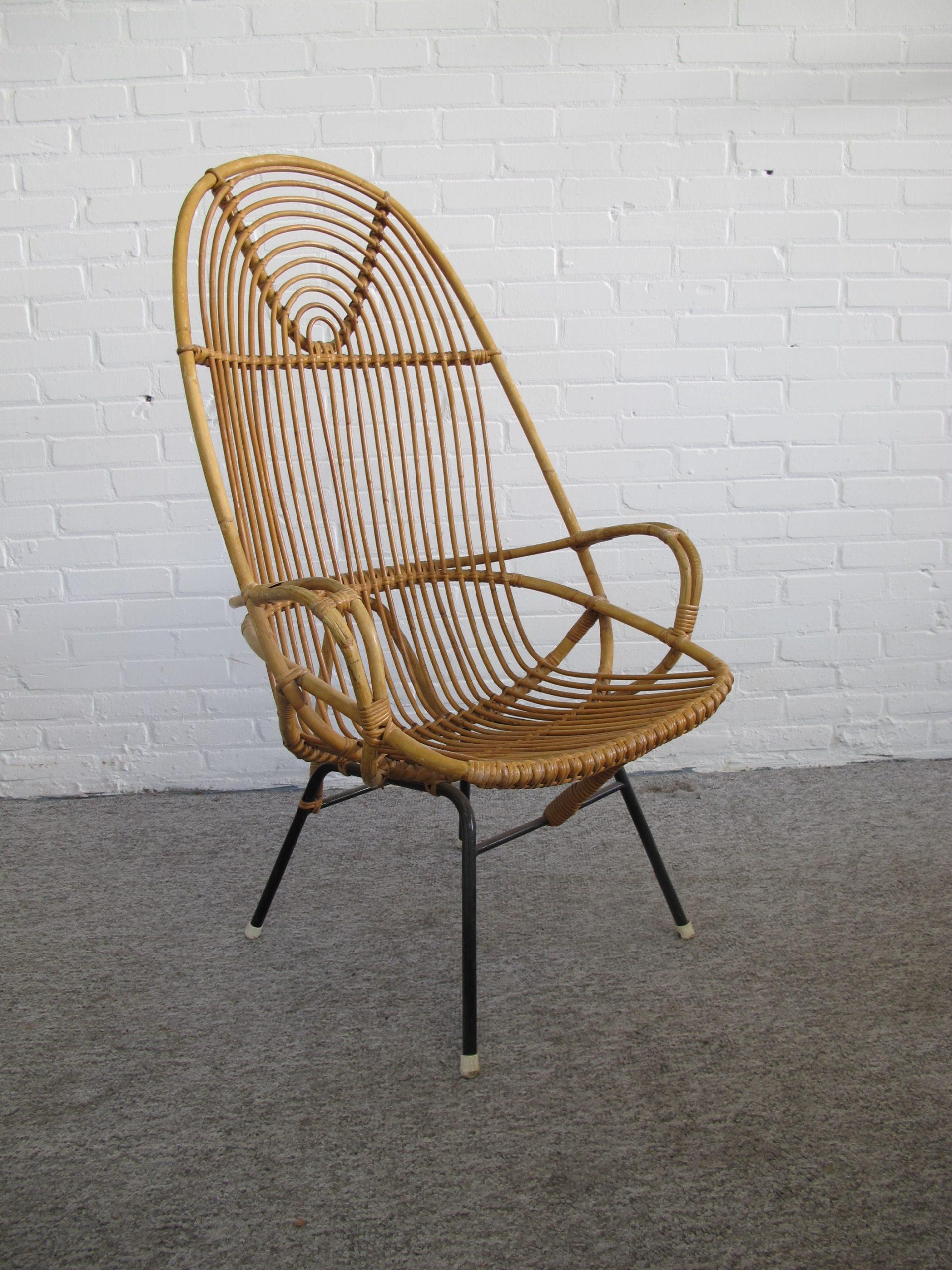 Fauteuil rattan armchair Dirk van Sliedrecht Rohe Noordwolde vintage midcentury