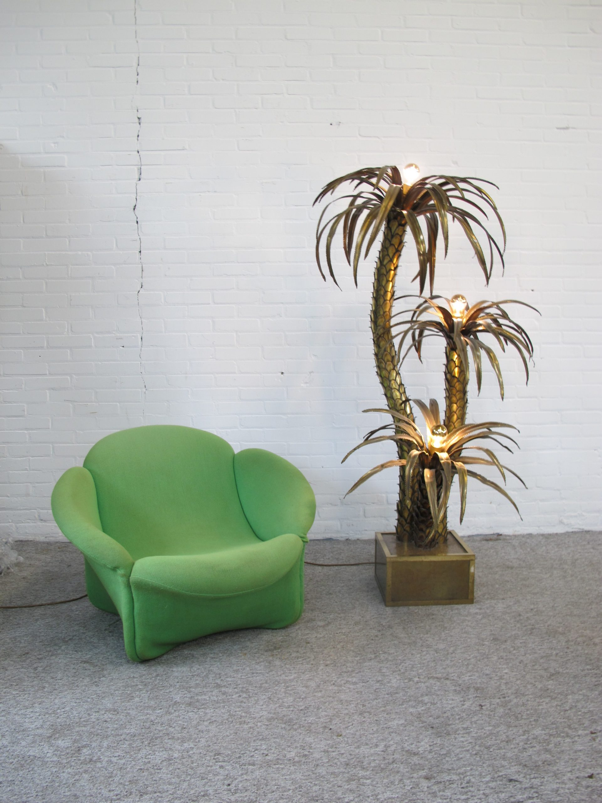 Maison Jansen Palmboom vloerlamp lounge chair fauteuil
