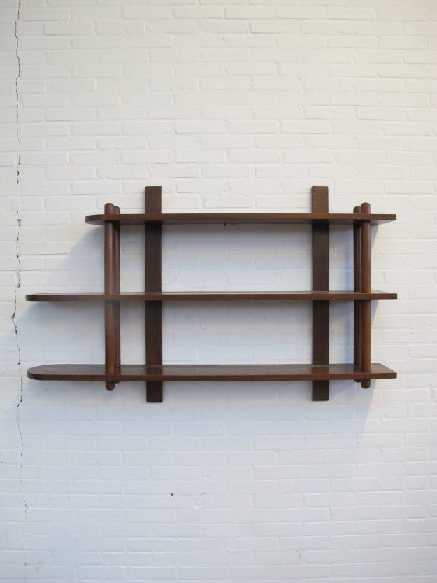 Kast stokkenkast wand boekenkast Willem Lutjens den Boer Gouda vintage midcentury