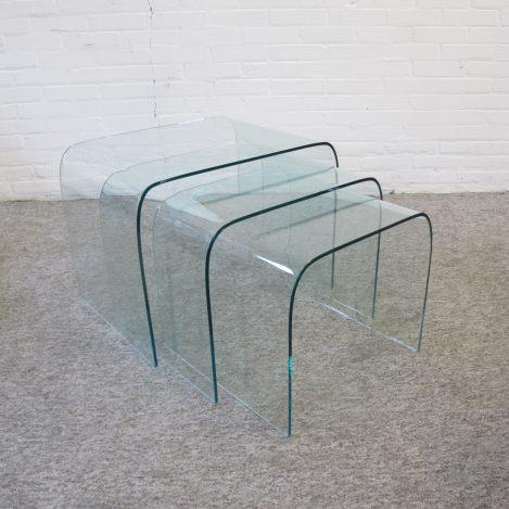 Tafeltjes Fiam Italy glazen miniset glass nesting tables vintage midcentury