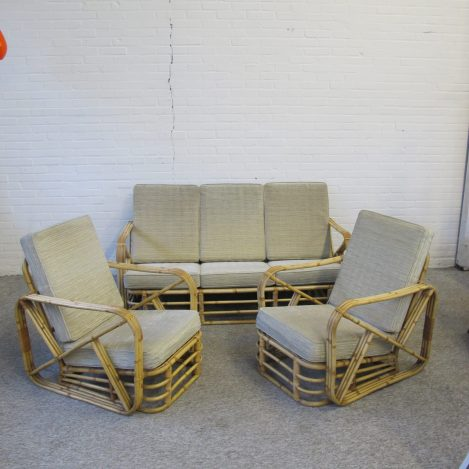 Bankstel sofa set rattan rotan bambo Paul Frankl vintage midcentury