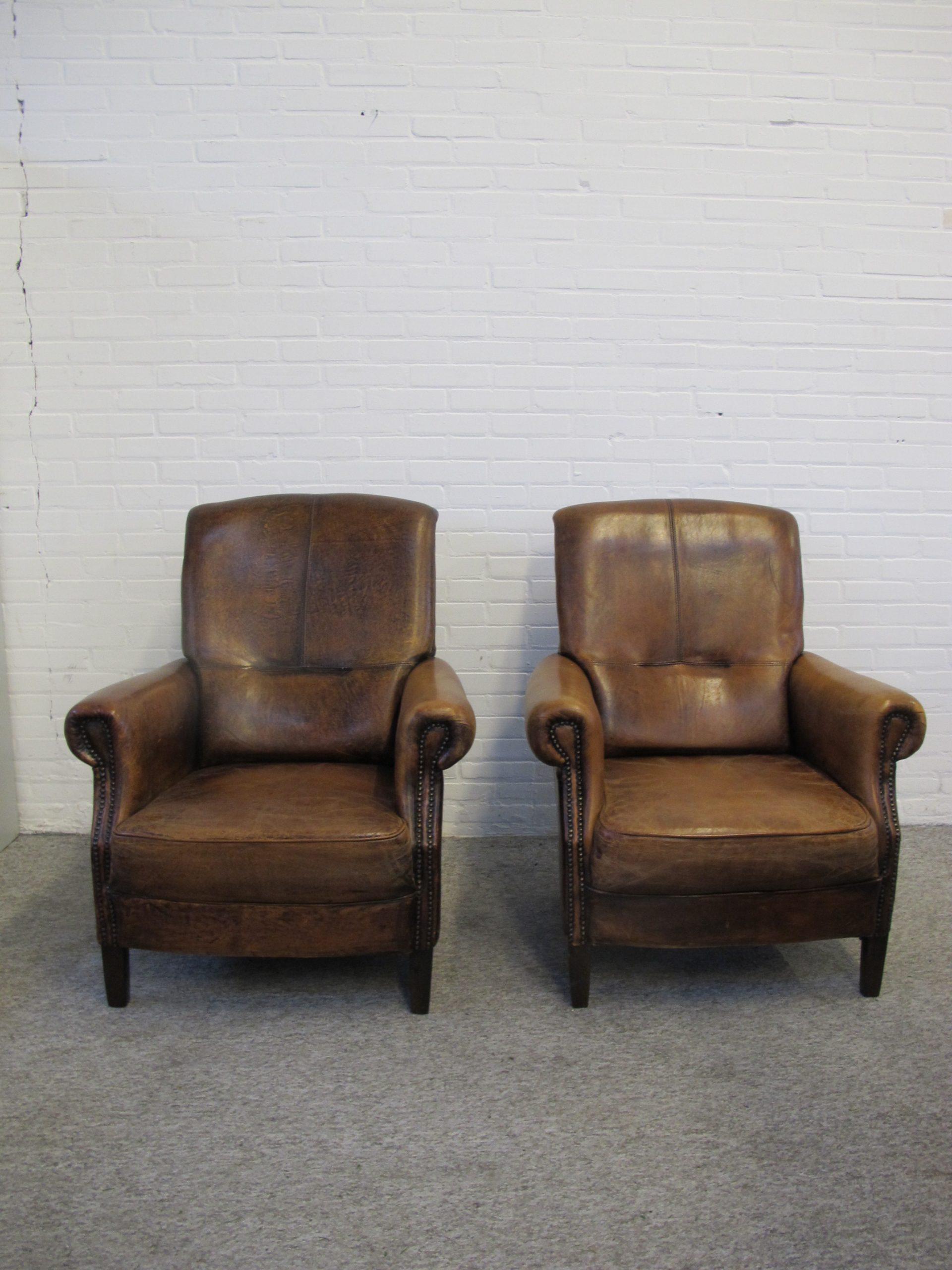 fauteuil lounge chair schapen lederen sheep leather vintage midcentury