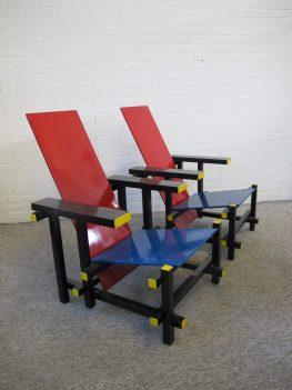 Gerrit Rietveld fauteuils armchairs Piet Mondriaan vintage midcentury