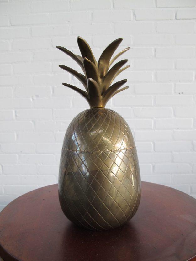 Ananas Pineapple brass Ijsemmer Maison Jansen vintage midcentury