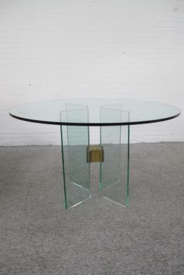 Tafel messing eettafel Glass brass dining table Peter Ghyczy Ghyczy vintage midcentury