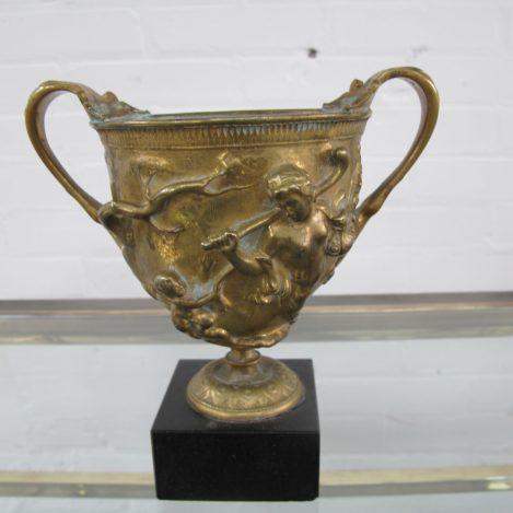 Antieke bronzen beker bowl Ferdinand Barbedienne Parijs vintage midcentury